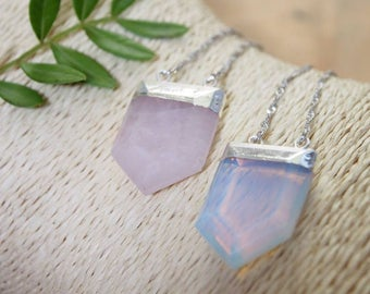 CRYSTAL PIONT NECKLACE - Chakra Point - Silver Necklace - Crystal necklace - Rose Quartz - Opal - Opalite - Natural Crystal Necklace