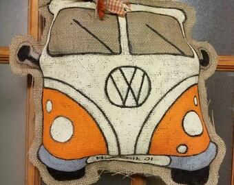 VW Bus Burlap Door Hanger