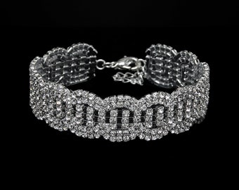 Brielle Clear Crystal Competition Bracelet for IFBB and NPC Bikini Fitness Bodybuilding Contests