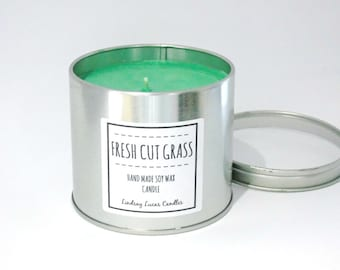 Fresh Cut Grass Candle, Fresh Scented Candle, Tin Candle, Scented Candle, Fresh Meadow Scent, Candle Tin, Large Candle, Strong Candle