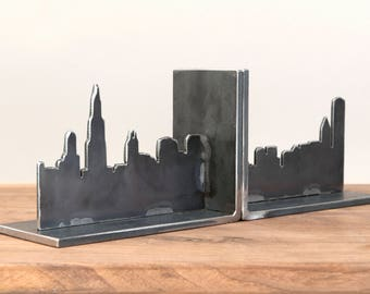 "12""x6"", Chicago Skyline Bookends, Steel Art Work, Skyscrapers, Gifts Under 75, Industrial, Husband Gift, Christmas Gift, Home Decor"