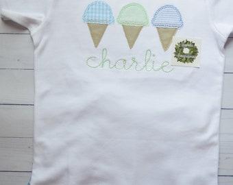Boys Ice Cream Applique Shirt, Ice Cream Applique Shirt for Boys, Summer Ice Cream Applique Shirt, Ice Cream Cone Applique Shirt for Boys