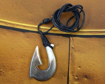 Maori Large Fish Hook Necklace, Hei Matau, Hand Carved, Lashed, Mother of Pearl, Surfer ,  2 x 1.2 Inches, Free Shipping