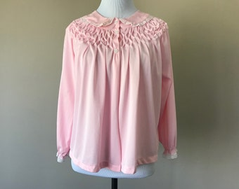 """S / """"As IS"""" Nylon Bed Jacket Lingerie / Pink Nylon / Small / Hand Embroidered Smocking Smocked / Vintage Sleepwear / Small"""