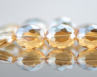33pcs Crystal Oval Faceted Glass beads 20mm Champagne -(TS03-7)