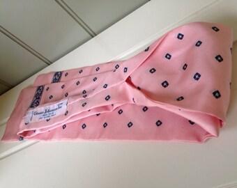 Ginnie Johansen Inc. 100% Silk Necktie Bowtie Scarf Skinny Scarf Pink and Blue 80's Mens Womens Unisex