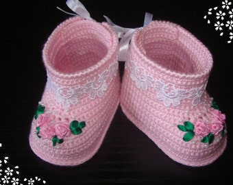 Crochet Baby Booties - Baby Girl Booties - Knit Crochet Booties - Crochet shoes - 0 to 3 Months