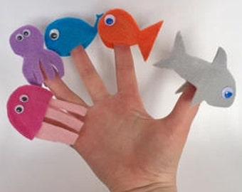 Sous les mer marionnettes à doigt, zone d'activités pour enfants, occupé boîte, occupé boîte boutique, enfant, activité