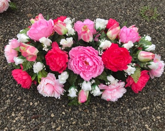 Super Large Spring Cemetery Saddle Arrangement / Easter Saddle / Headstone Flowers / Grave Flowers / Memorial Flowers / Spring Saddle
