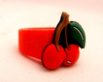 Cherry Red - Rubber Handpainted Ring