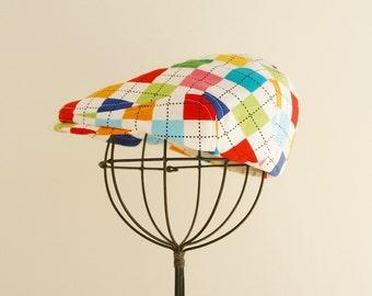 Argyle newsboy cap, baby newsboy cap, argyle newsboy hat, argyle flat cap, golf cap, pageboy, paper boy hat - made to order