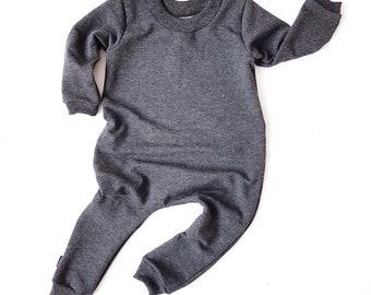 CHARCOAL Sweatshirt Baby Romper & Toddler Romper
