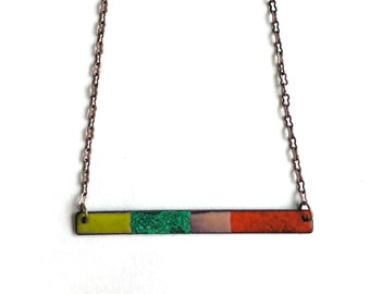 Enamel and Patina Bar Necklace
