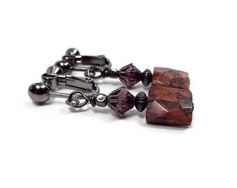 Brecciated Jasper Gemstone Earrings, Clip on Earrings Lever Back or Hook, Drop Earrings, Gunmetal Plated, Boho Earrings, Faceted Stone