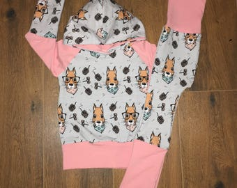 Pink and Blue Squirrel Hoodie