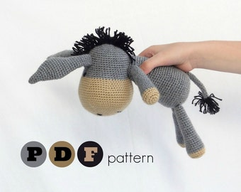 PDF Amigurumi donkey pattern. Instant download file. Eugene, cute donkey, a proud member of the farm family project.