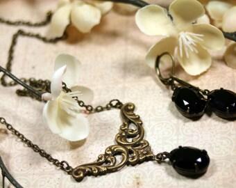 Juliet Vintage Rhinestone Necklace n Earrings Set in Jet Black Swarovski Romantic 1920's Style Art Deco