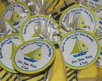 Sailboat Blue and Yellow Favor Tags
