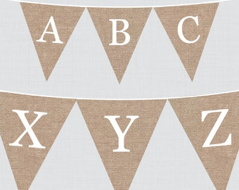 Burlap Alphabet Banner with ALL Letters - Printable Instant Download - Large and Small Versions - Triangle Bunting Alphabet Burlap Lace 0063