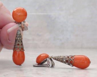 Orange Dangle Earrings Made in Austria Glass Beads Clip On Vintage 081715DU