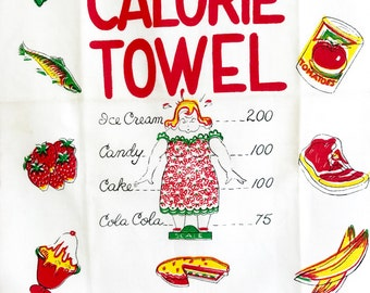 Vintage Kitchen Tea Towel Calorie Counter Watch Your Weight Gift for Dieter