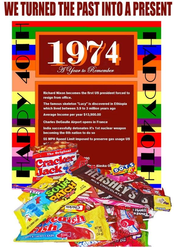 Items Similar To 1974 40th Birthday Gift Basket Box Retro Nostalgic Candy On Etsy