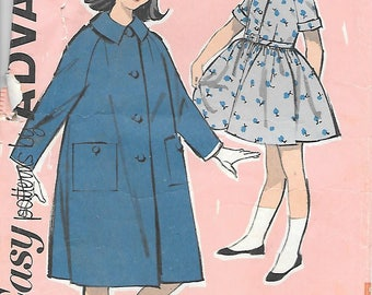 Advance 2734 1960s Shirtwaist Dress and Coat Vintage Sewing Pattern Size 16 Bust 36 Tweens Full Skirt