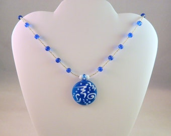 Dazzling Blue Necklace with Glass and Seed Beads and Lampworked Glass Focal