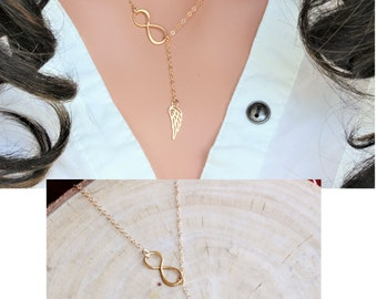 Feather Necklace - Gold Feather necklace - inspirational - feather lariat necklace - Feather y necklace - Infinity Feather Necklace -Feather