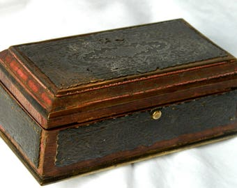 Small Ornate (Brass Rimmed with Pewter Panels) Regency Wooden Jewelry Casket Box