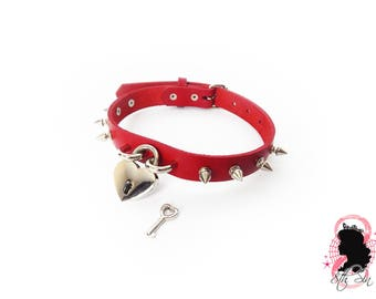 Red Studded Heart Padlock Choker with Key, Red Heart Lock Choker, Lock & Key Choker, Red Heart Lock Collar, Love Slave Collar, BDSM Collar