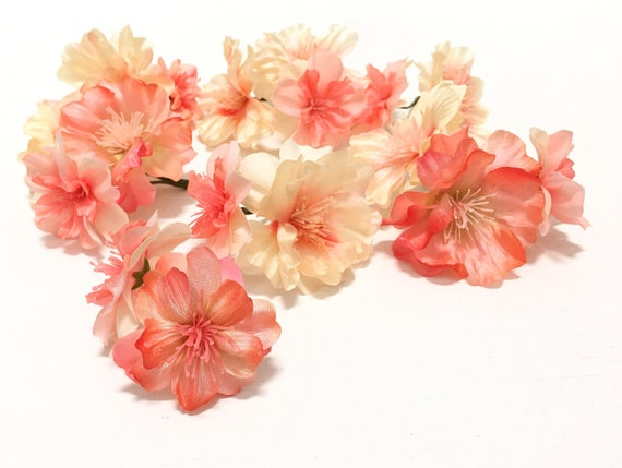 17 flower blossoms in coral peach artificial flowers peach 17 flower blossoms in coral peach artificial flowers peach blossoms silk flowers wedding flower crown millinery corsage boutonnire from mightylinksfo