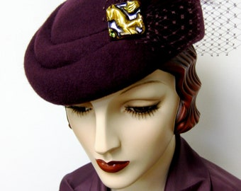 1940's French Sculpted Toque/Plum