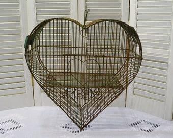Vintage Heart Shaped Birdcage Metal Wire Bird Cage Green Chippy Paint Cottage Romantic Decor Wedding PanchosPorch