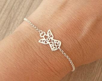Sterling Silver Angel Bracelet, Dainty Bracelet, 24K Gold Vermeil Bracelet, Thin Chain Bracelet, 925 Sterling Silver Jewelry