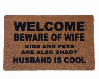 Beautiful Husband Is COOL™, Beware Of Wife, Funny Doormat, Gifts For Him,