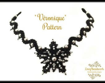 """Beading Pattern : """"Véronique"""" Necklace in English D.I.Y."""