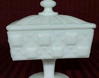 Westmoreland milk glass square pedestal dish