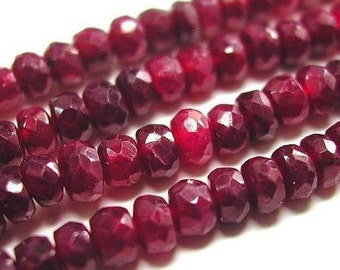 Red Ruby Beads 6 to 15 Pieces Large 6mm Natural Faceted Rondelle Precious Gemstones Pigeon Blood Strand Take 10% Off Bridal Jewelry Supply