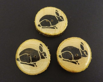 """3 Handmade Painted Rabbit Branch Buttons.  Approximately 1 1/4"""" or 33 mm Round.  Made from real wooden branch."""