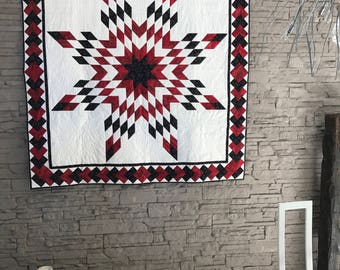Quilt patchwork star of Bethlehem red white and black one piece