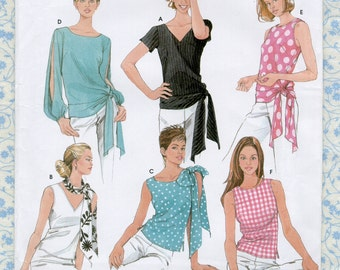 2000s Simplicity 7084 Easy Womens Blouse Sewing Pattern Misses Shirt or Tops Size 6 8 10 12 Bust 30 31 32 34 & Scarf Pattern, Modern UNCUT