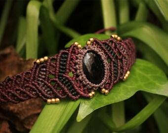 Macrame bracelet with Obsidian Stone, Jewelry, Semiprecious Stone, Handmade Gypsy · Tribal · Boho · Mystical · Psy · Festival · Brass