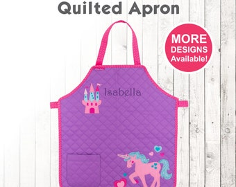 Personalized Unicorn Apron, Stephen Joseph Quilted Apron, Embroidered Toddler Apron, Monogram Apron, Apron for kids