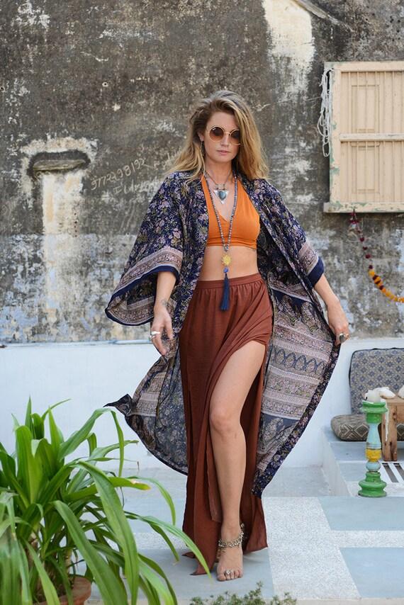 LUXURY BOHO KAFTAN - Full length Kimono - Beach Cover Up - Summer - Wedding - Peasant dress - Vintage dress - Gunne Sax Inspired - Festival