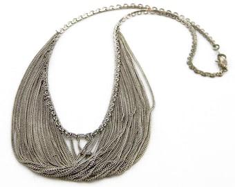 Sterling Silver Multi Chain Bib Necklace