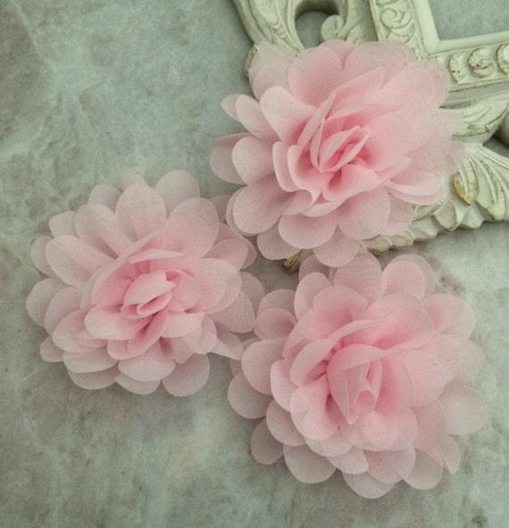 Petite pink chiffon flower chiffon flower flower puff like this item mightylinksfo Images
