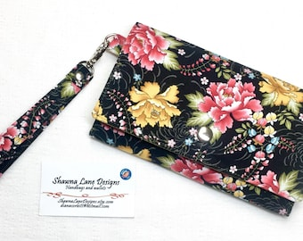 women's wallet, affordable gift, wristlet, black floral fabric wallet, small purse, cell phone accessory, small handbag, pink yellow flowers