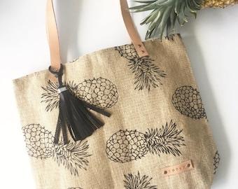 Tote bag, black leather tassel, Boho Tote, Shoulder bag, beach bag, market tote bag, Jute handbag Pineapple printed bag.