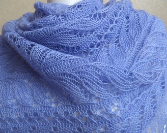 Hand knitted shawl in  100% merino wool, color iris blue